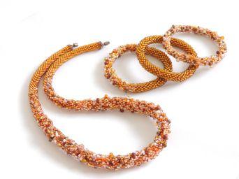 Colier și brățări din mix de mărgele Preciosa - bead crochet