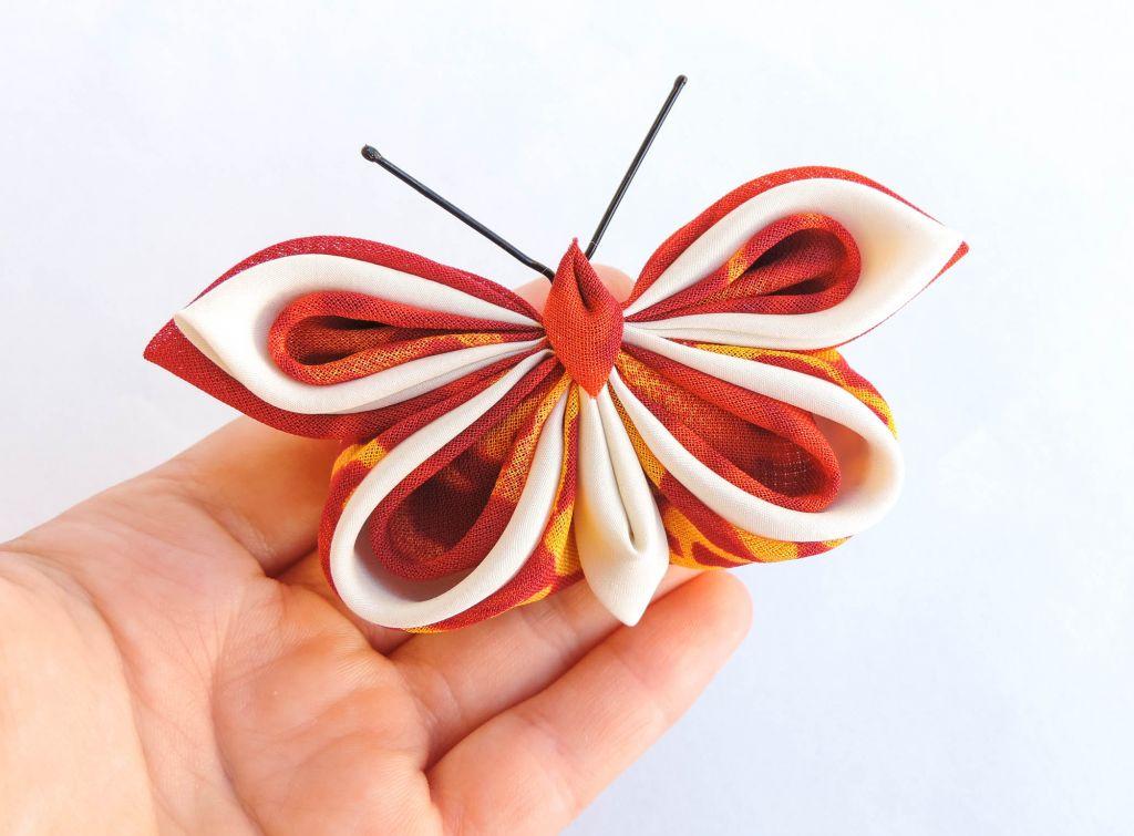 Fluture rosu galben matase voal - kanzashi - baza dubla