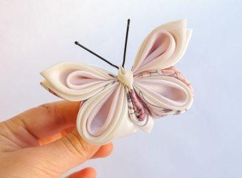 Fluture roz satin si matase - kanzashi - baza dubla