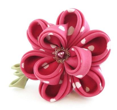 Pink polka dots silk peony