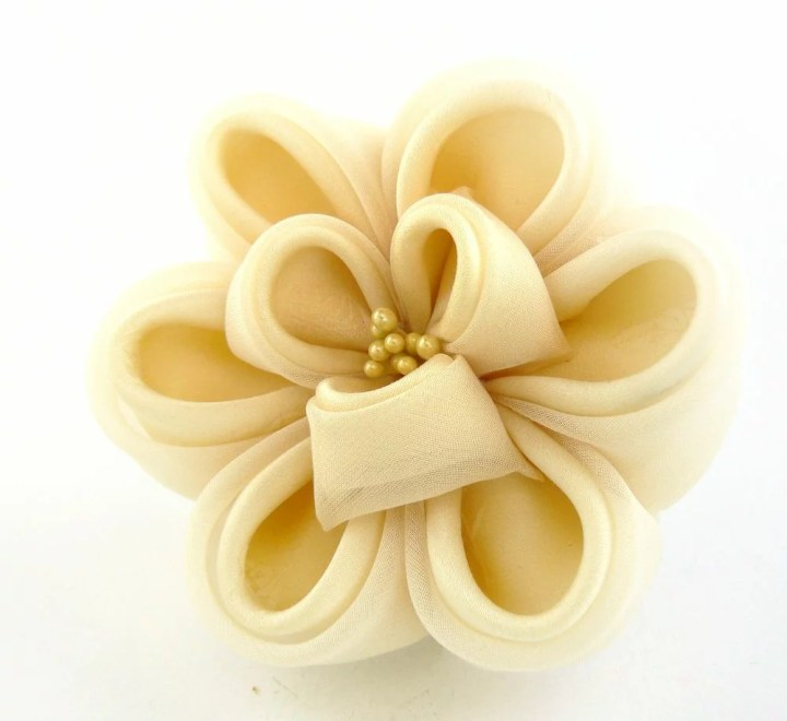 Cream colored silk and voile peony