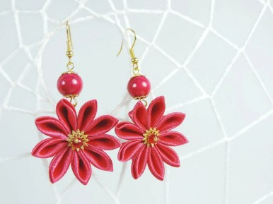 Fabric flower earrings - dark pink