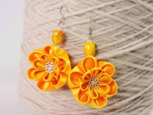 Fabric flower earrings - vivid yellow