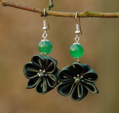Fabric flower earrings - dark pine green