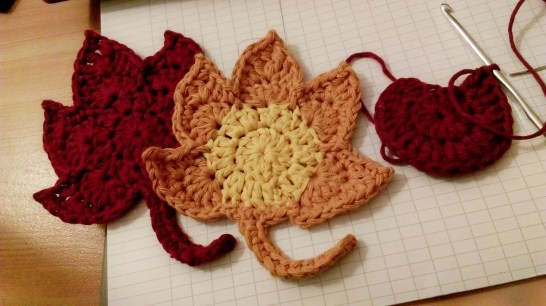 Crochet autumn leaves coaster - in progress