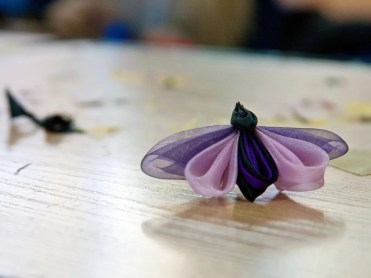 Tutorial satin organza butterfly - pink and purple