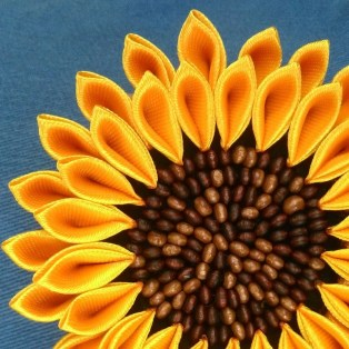 Medium sunflower with brown wood beads embroidery