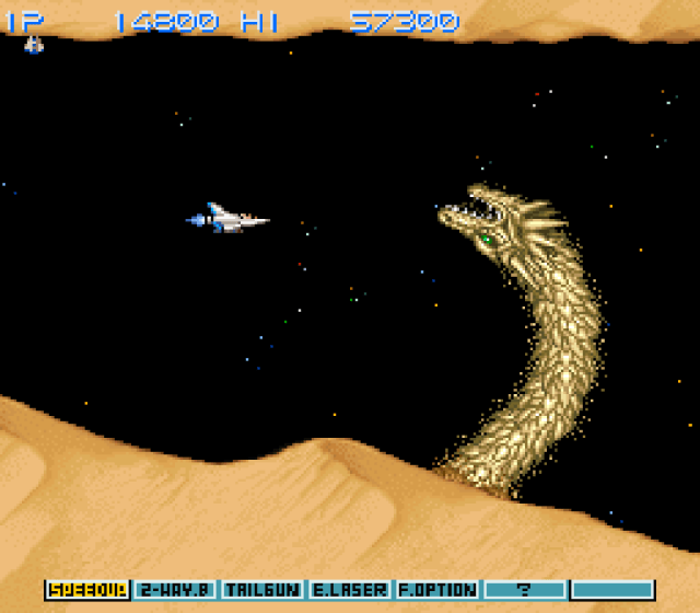 Gradius III first stage with no more slowdown on the big dragon scene