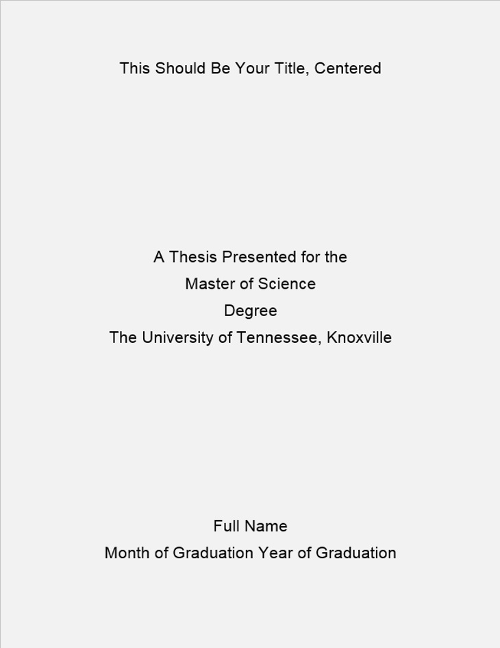 Formatting Of The Title Page The Graduate School