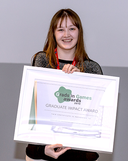 Megan Brown of Frontier Developments, 2019 Winner Grads In Games Graduate Impact Award