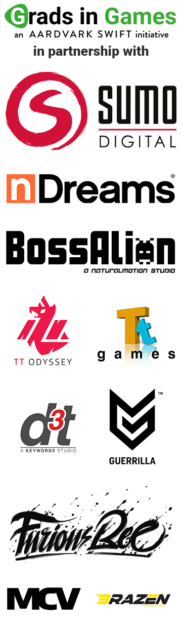 Grads In Games Partners 2019/20; Sumo Digital, nDreams, Boss Alien, TT Games, d3t, Guerrilla Games, Furious Bee, MCV, Brazen Gaming Chairs