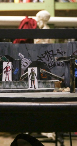A scale mock-up of the set for the production of In the Blood by the University of Georgia Department of Theatre and Film Studies made by Maddie Walsh to help plan her design. (Photo/Anthony Gagliardi)
