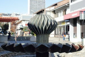 One of the origami statues in the plaza in Japantown.