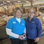 Cora Haltaufderheid, executive director of the Greater Green Bay Habitat for Humanity, and Christine Pichler, civil engineer at GRAEF-USA Inc., celebrated the opening of the new Habitat ReStore in the Village of Bellevue.
