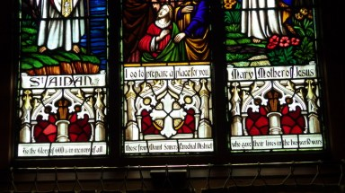 Detail of St Aidans, Altar stained glass window.