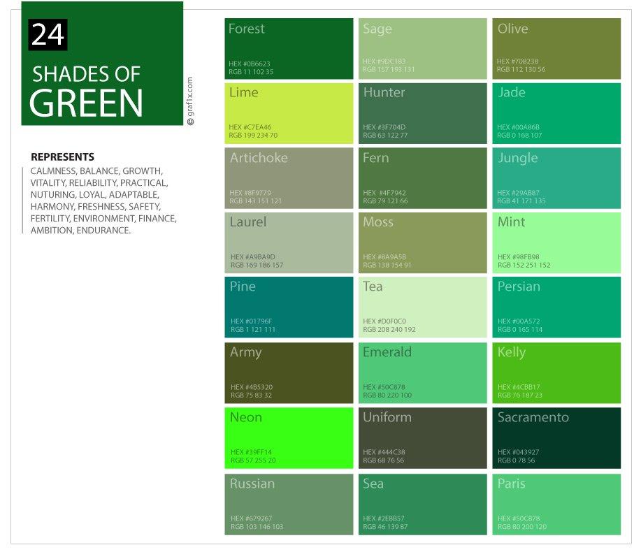 24 Shades of Green Color Palette  graf1x.com