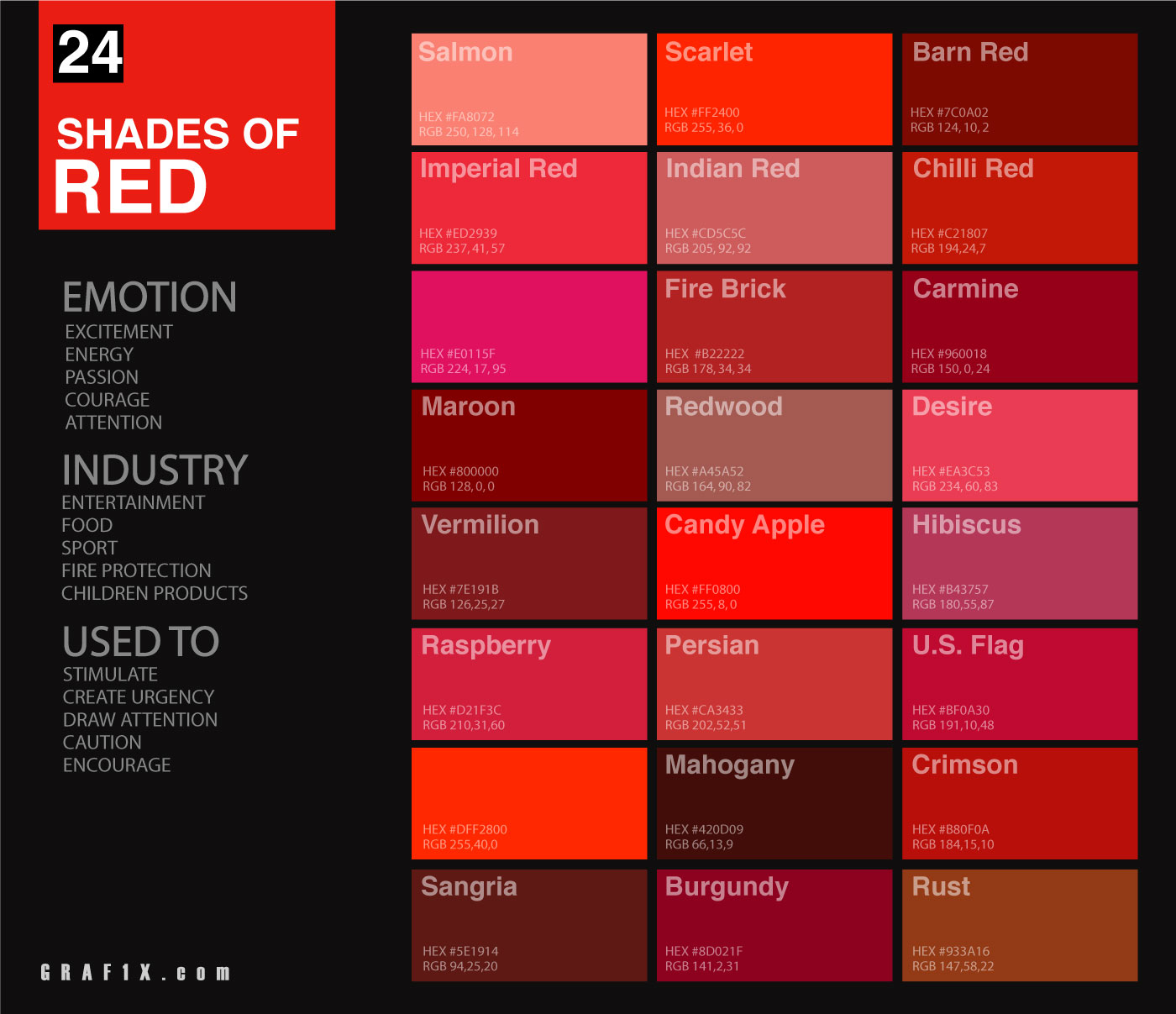 24 shades of red