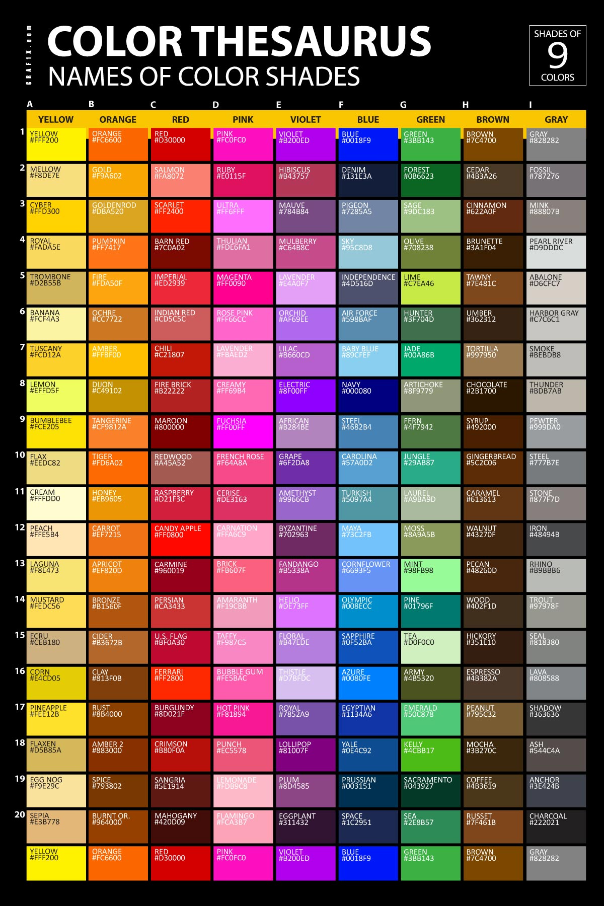 List of Colors with Color Names  graf1xcom