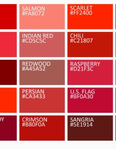 shades of red color chart with names