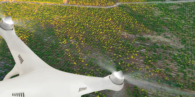 Drone utilizado para trabajos de agricultura