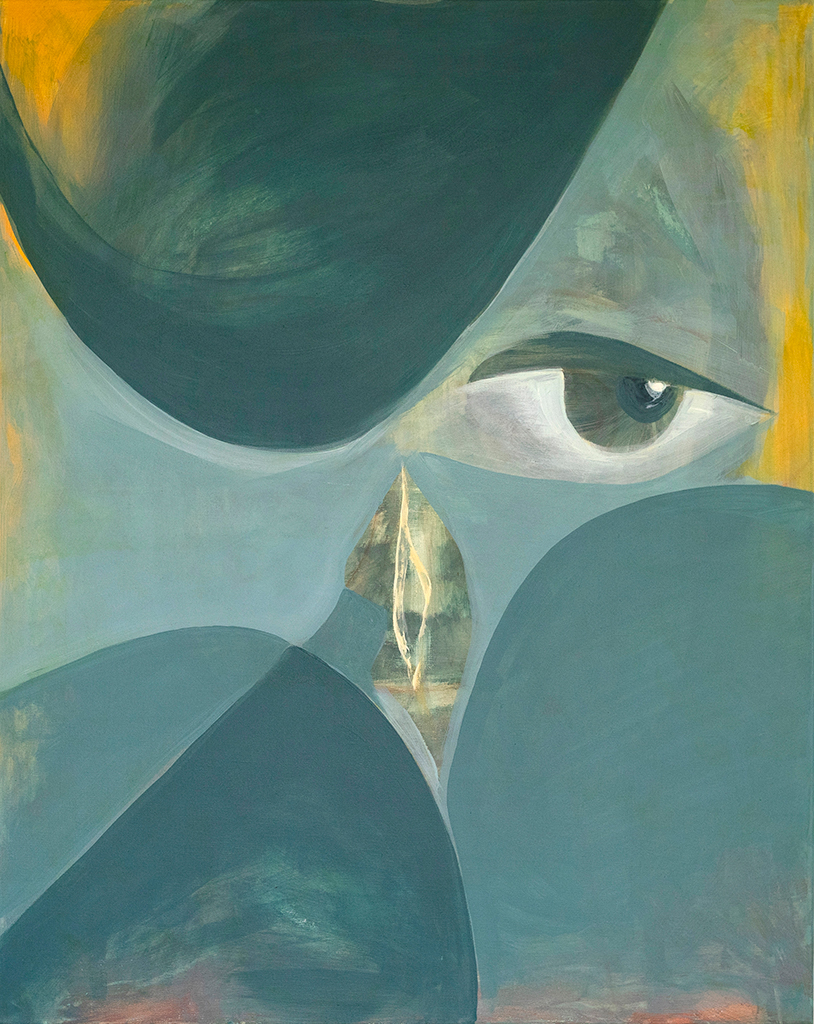 Melancholic painting in tones of blue with one eye and mouth