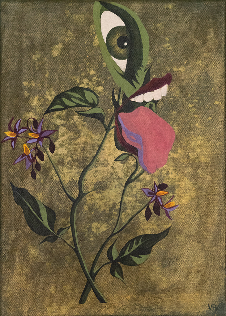 Painting of plant with eye and mouth sticking out its tongue