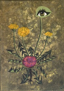 Painting of dandelion with eye and kissing mouth