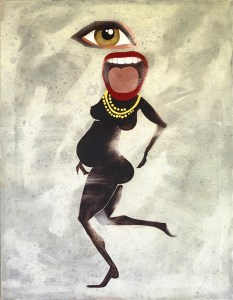 Painting of pregnant woman with big eye and mouth dancing happily