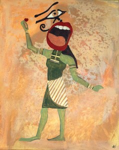 painting of egyptian figure shouting with heart in hand