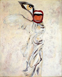 Painting of Greek winged statue with big eye and mouth