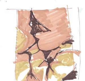 """""""Magnificum lacte I"""". Dibujo a rotulador sobre papel, 19.8cm x 20.5cm, 2012"""