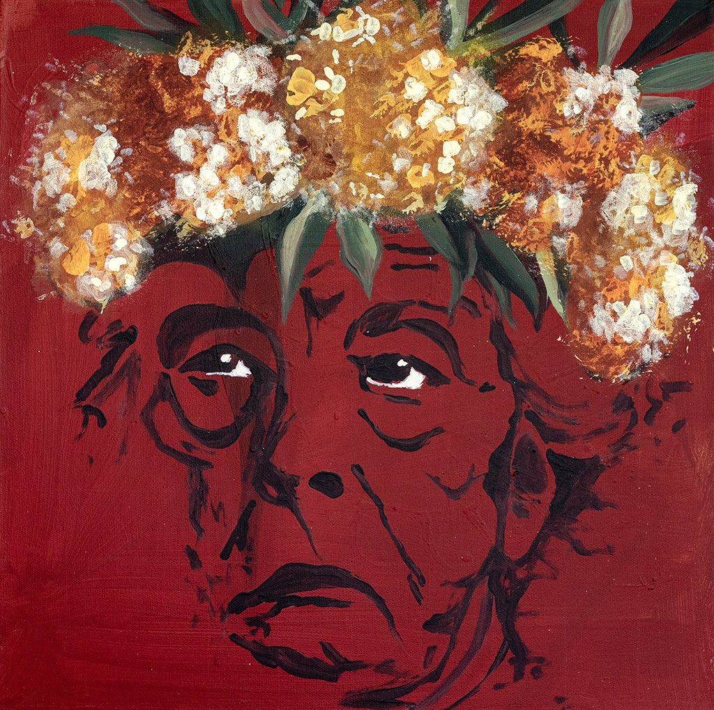 Painting of a grumpy woman with flowers on her head and red background
