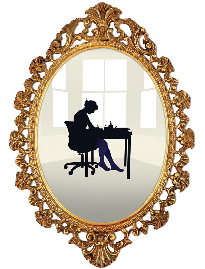 Illustration of a woman with blue stockings working at a table by a window