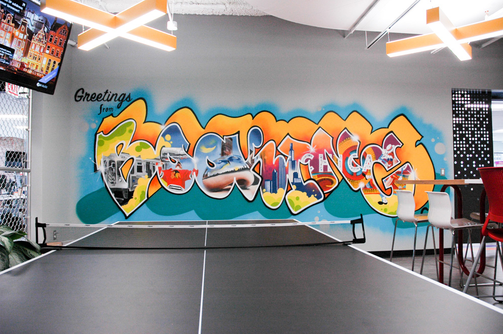 Chicago Office Graffiti Mural for Bookingcom