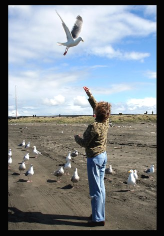 MY BEST FRIEND DIANA FEEDING THE GULLS AT CANON BEACH, OR.