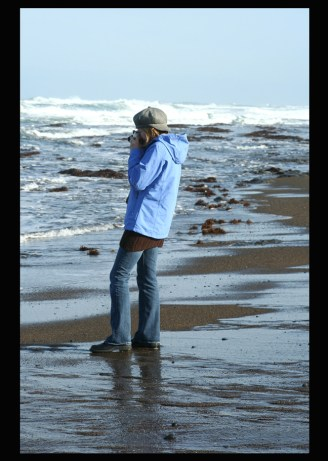 MY DAUGHTER LIZ ON AN EARLY MORNING BEACHCOMBING WALK