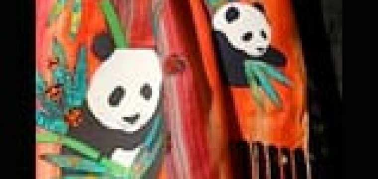 RASTA PANDA …a new batik art scarf/wall hanging/table runner…multitasking panda