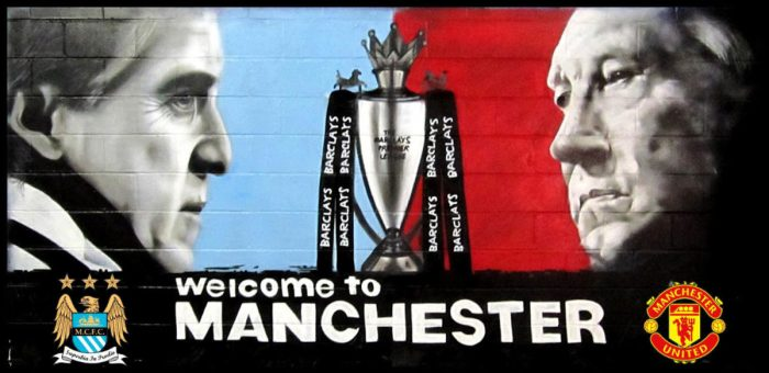 manchester united city football graffiti