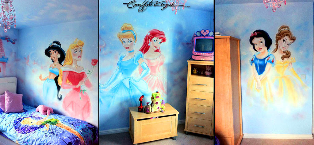 Disney Princess Graffiti Bedroom Mural