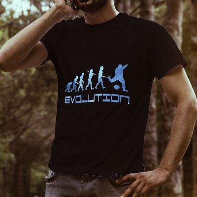 Egyedi nyomtatott póló Egyéb témában, Evolution (foci) képpel/szöveggel.