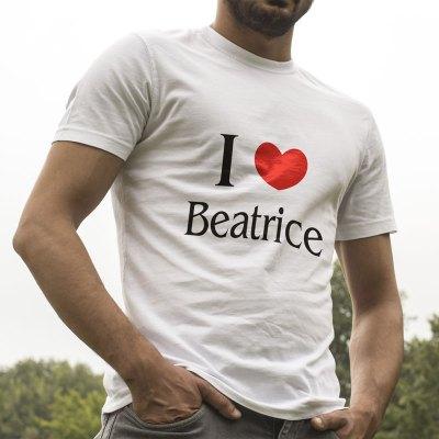 Egyedi nyomtatott Együttes póló, I Love Beatrice szöveggel