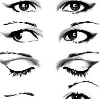 Różne stany oczu czarno białe