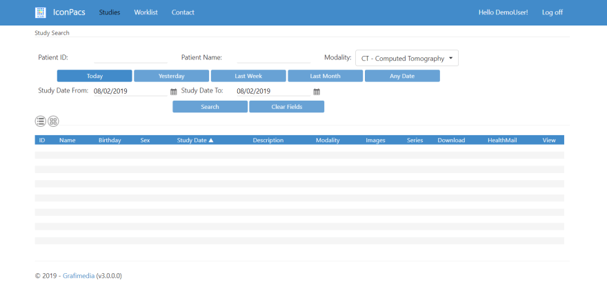 ICON PACS App Demo User