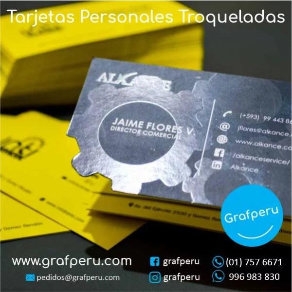 TARJETAS PERSONALES TROQUEALAS MATE BRILLO DE PRESENTACION BARATAS GRAFPERU LIMA PERU