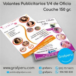 VOLANTES MOSQUITOS COUCHE A6 1-4 150 GRAMOS OFICIO PUBLICITARIOS ECONOMICOS GRAFPERU LIMA PERU