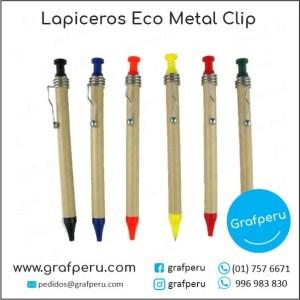 LAPICEROS ECOLOGICOS PUBLICITARIOS CLIP METAL BARATOS ECONOMICOS GRAFPERU LIMA PERU
