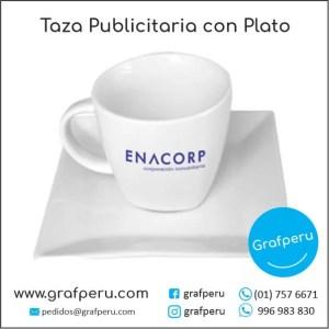 TAZA PUBLICITARIA PLATO ECONOMICA CORPORATIVA LOGO ECOLOGICO BARATO ECONOMICO GRAFPERU LIMA PERU