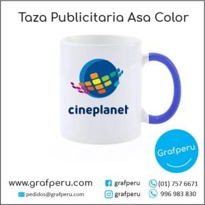 TAZA PUBLICITARIA ASA DE COLOR ECONOMICA CORPORATIVA LOGO ECOLOGICO BARATO ECONOMICO GRAFPERU LIMA PERU