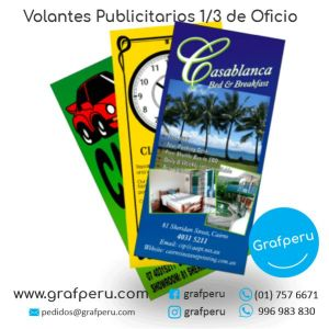 VOLANTES MOSQUITOS COUCHE 1 tercio OFICIO PUBLICITARIOS GRAFPERU LIMA PERU