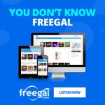 "freegal promo ""You don't know freegal"" image of phone, tablet and PC fk or access, link to ""listen now"""
